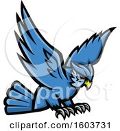 Clipart Of A Swooping Blue Great Horned Owl Mascot Royalty Free Vector Illustration