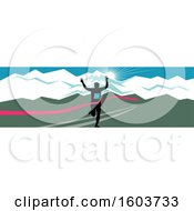 Poster, Art Print Of Silhouetted Male Marathon Runner Breaking Through The Finish Line Against A Snow Capped Mountainous Sunset