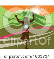 Poster, Art Print Of Silhouetted Male Marathon Runner Breaking Through The Finish Line Against A Mountainous Sunset