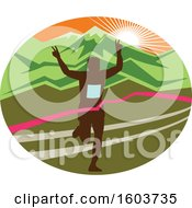 Poster, Art Print Of Silhouetted Male Marathon Runner Breaking Through The Finish Line In An Oval Against A Mountainous Sunset