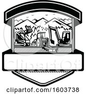 Clipart Of A Shield With Heavy Equipment Used In Tree Mulching Bush Hogging And Excavation Services In Black And White Royalty Free Vector Illustration