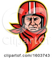 Clipart Of A Male Biker Wearing A Vintage Helmet And Red Bandana Royalty Free Vector Illustration by patrimonio