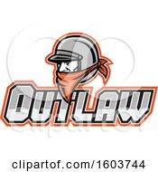 Clipart Of A Male Outlaw Biker Wearing A Helmet And Orange Bandana Over Text Royalty Free Vector Illustration by patrimonio