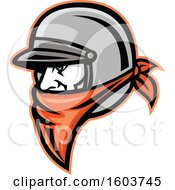Male Outlaw Biker Wearing A Helmet And Orange Bandana