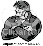 Clipart Of A Tough Retro Male Biker With Folded Arms And Riding Gear Royalty Free Vector Illustration