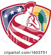 Clipart Of A Patriot Rugby Player Made Of Stripes In A Star And Tree Shield Royalty Free Vector Illustration