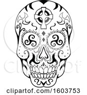 Poster, Art Print Of Exican Skull Or Calavera With With Triskelion Eyes And A Celtic Cross On The Forehead