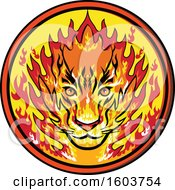 Flaming Tiger Mascot Head In A Circle