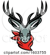 Clipart Of A Tough Jackalope Head With A Red Bandana Royalty Free Vector Illustration