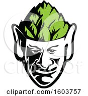 Clipart Of A Black And White Elf Face Wearing A Green Hops Hat Royalty Free Vector Illustration