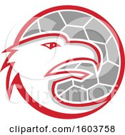 Clipart Of A Profiled European Eagle Mascot Head Over A Handball Royalty Free Vector Illustration