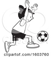 Clipart Of A Black Girl Playing Soccer Royalty Free Vector Illustration