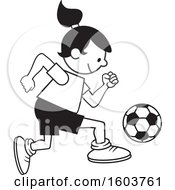 Clipart Of A Girl Playing Soccer Royalty Free Vector Illustration