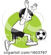 Clipart Of A Boy Playing Soccer Over A Green Circle Royalty Free Vector Illustration by Johnny Sajem