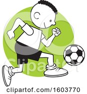 Clipart Of A Black Boy Playing Soccer Royalty Free Vector Illustration by Johnny Sajem