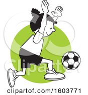Clipart Of A Black Girl Playing Soccer Over A Green Circle Royalty Free Vector Illustration by Johnny Sajem