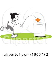 Clipart Of A Black Girl Playing A Bean Bag Toss Game Royalty Free Vector Illustration