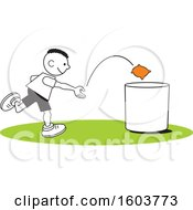 Clipart Of A Black Boy Playing A Bean Bag Toss Game Royalty Free Vector Illustration