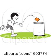 Clipart Of A Boy Playing A Bean Bag Toss Game Royalty Free Vector Illustration