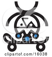 Jester Doing A Handstand On A Skateboard Clipart Illustration