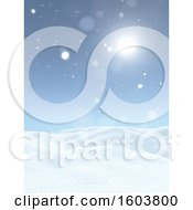 Sunny Sky Over A 3d Winter Background
