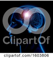 Clipart Of A 3D Render Of A Male Medical Figure With Brain Highlighted On A Black Background Royalty Free Illustration