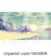 Clipart Of A 3d Tropical Beach With Flares Royalty Free Illustration
