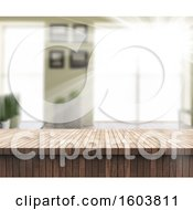 Clipart Of A 3d Wood Counter And Blurred Room Royalty Free Illustration