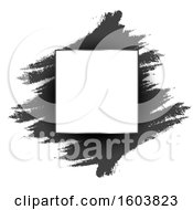 Clipart Of A Blank Frame Over Black Ink Strokes On A White Background Royalty Free Vector Illustration