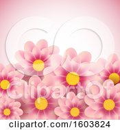 Clipart Of A Pink Background With Daisy Flowers Royalty Free Vector Illustration
