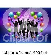 Silhouetted Groupof Dancers With Colorful Party Balloons And Glitter