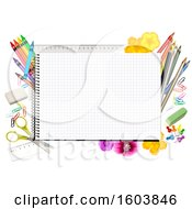 Clipart Of A Spiral Notebook Of Graph Paper With Colored Pencils Crayons And Supplies Royalty Free Vector Illustration by dero