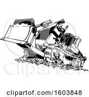 Clipart Of A Black And White Bulldozer Royalty Free Vector Illustration