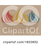Cup Cakes Print On Vintage Brown Material With Decorative Text