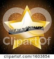 Clipart Of A Golden Star And Banner With A Silhouetted Crowd Over A Burst Royalty Free Vector Illustration