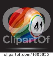 Clipart Of A Rainbow Colored 3d Bingo Ball Floating On A Black Background Royalty Free Vector Illustration