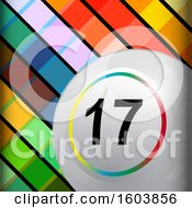 Clipart Of A 3d White Bingo Ball With A Colorful Ring Around The Number Over A Tiled Background Royalty Free Vector Illustration