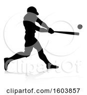 Clipart Of A Black Silhouetted Baseball Player Batting With A Reflection On A White Background Royalty Free Vector Illustration by AtStockIllustration