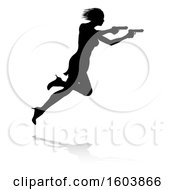 Clipart Of A Silhouetted Femme Fatale Shooting With A Reflection Or Shadow On A White Background Royalty Free Vector Illustration
