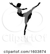 Poster, Art Print Of Silhouetted Ballerina Dancing With A Reflection Or Shadow On A White Background