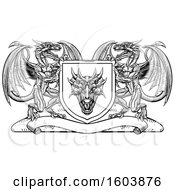 Clipart Of A Black And White Heraldic Shield With Dragons Royalty Free Vector Illustration