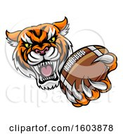Clipart Of A Vicious Tiger Sports Mascot Grabbing A Football Royalty Free Vector Illustration