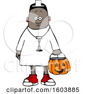 Cartoon Black Girl Wearing Halloween Nurse Costume While Trick Or Treating