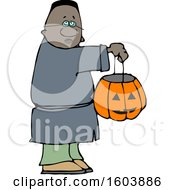 Cartoon Black Boy Holding A Halloween Candy Bucket And Trick Or Treating
