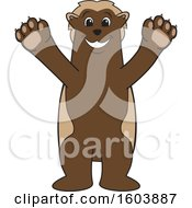 Clipart Of A Wolverine School Mascot Character Welcoming Royalty Free Vector Illustration by Toons4Biz