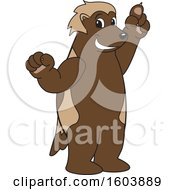 Clipart Of A Wolverine School Mascot Character Holding Up A Finger Royalty Free Vector Illustration