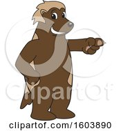Clipart Of A Wolverine School Mascot Character Pointing Royalty Free Vector Illustration