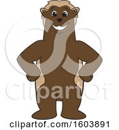 Clipart Of A Wolverine School Mascot Character With Hands On His Hips Royalty Free Vector Illustration