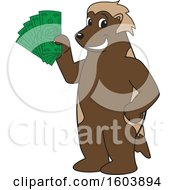 Clipart Of A Wolverine School Mascot Character Holding Cash Money Royalty Free Vector Illustration
