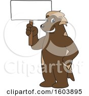 Clipart Of A Wolverine School Mascot Character Holding A Blank Sign Royalty Free Vector Illustration